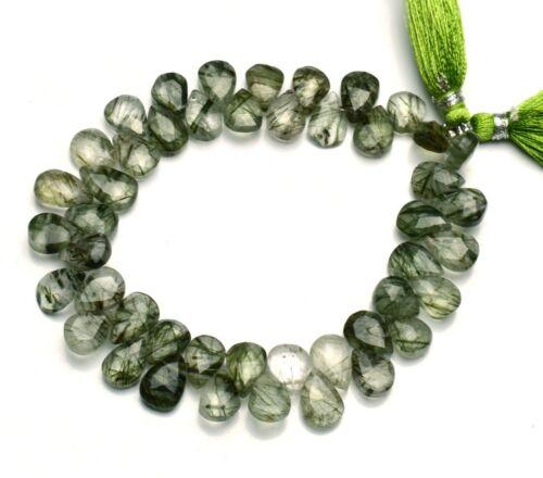 "Natural Gem Green Rutile Quartz 10x7MM Size Pear Shape Briolette Beads 8"" Strand"