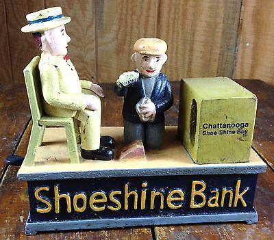Chattanooga Shoe Shine Boy Cast Iron Mechanical Shoe Shine Bank Man Kicks Coin