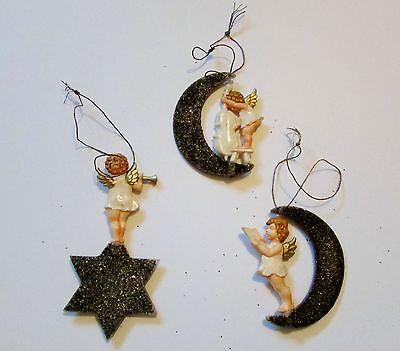 3 Vintage German Plastic Mica Moon & Stars Angel Band Christmas Ornaments