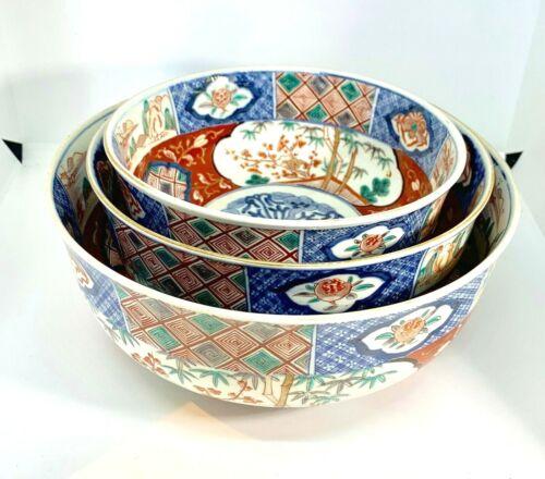 Set of 3 Large Nesting Antique Imari Bowls