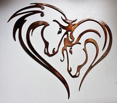 Horse Metal Art - Mothers Heart Horse Heart Metal Wall Art Copper/Bronze