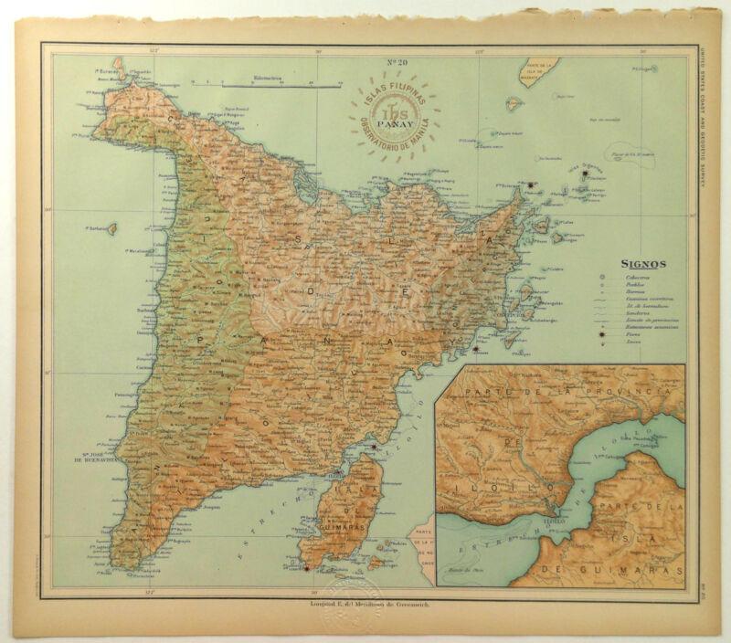 1899 Official US Navy Map Philippine Islands Isla Panay Guimaras Gigantes
