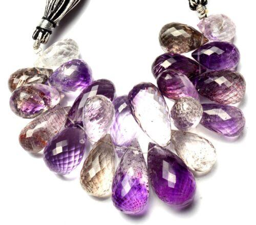 "Natural Gem Lepidocrocite 15x8 to 24x10MM Faceted Drop Shape Briolette Beads 4"""