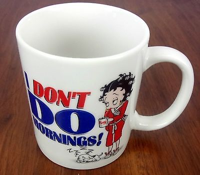 BETTY BOOP-I DON'T DO MORNINGS-Coffee Cup/Mug King Features 2000