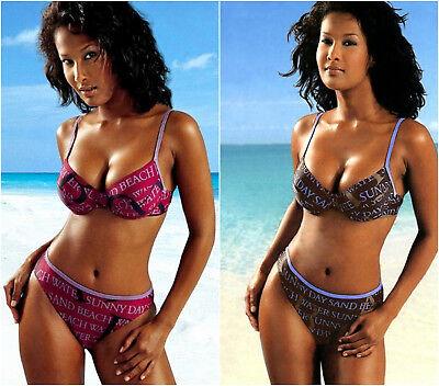 Damen Bügel Bikini bordeaux lila braun blau Schrift Muster Beach Time Gr. 34 36