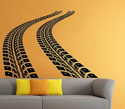 Tire Tracks Wall Decal Car Traces Vinyl Sticker Art Home Mural Decor (4dtrk)