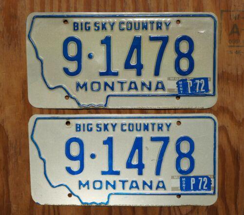 1971 1972 MONTANA Big Sky Country License Plate PAIR / SET