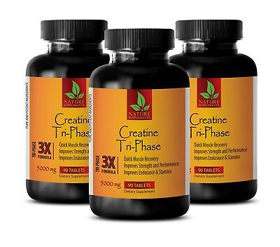 CREATINE Tri-Phase 5000mg - Superior Blend Monohydrate, HCL, Pyruvate -3 Bottles