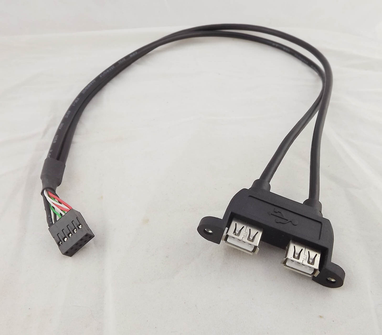 """2pcs 2USB 2.0 A female panel mount to 10Pin F 0.1/"""" header PCB motherboard cable"""
