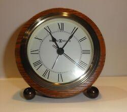 Vintage Howard Miller Wooden Round Desk Alarm Clock