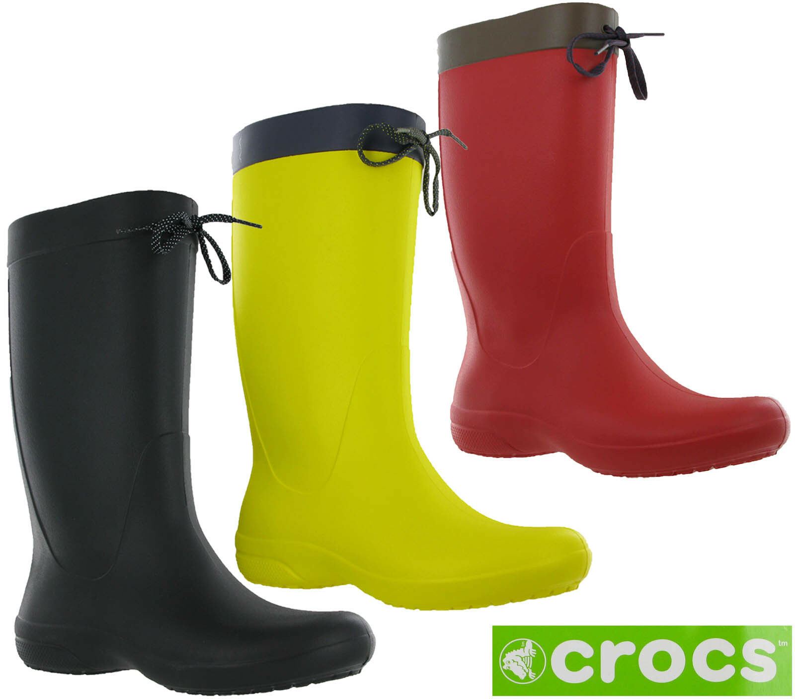 b8ec0de492ec8 Crocs Freesail Rain Boot Womens Calf Wellington Winter Pull On Lightweight  Boots