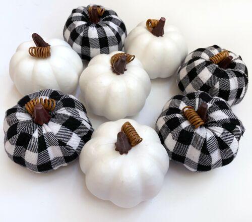 NEW Set 8 Fall Buffalo Plaid Pumpkins Tabletop Decor Vase Filler Farmhouse White