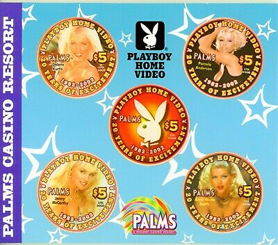 Palms Casino Playboy Home Video $5 Chip (Set of 5 Chips) with CD Case & Brochure