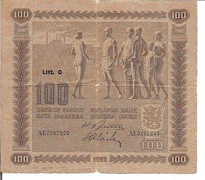 FINLAND, 100 MARKKAA, Litt. C, P#65a, 1922