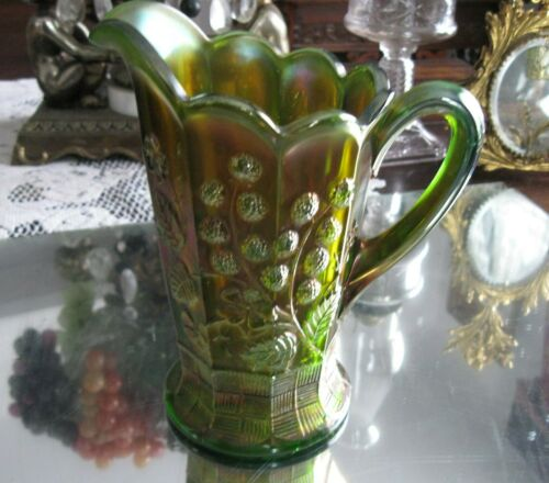 RARE ANTIQUE GREEN RASPBERRY NORTHWOOD CARNIVAL GLASS MILK JUG