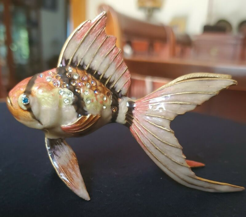 "JAY STRONGWATER GROTTO TROPICAL FISH 4"" x 2.5"" FIGURINE SWAROVSKI CRYSTALS"