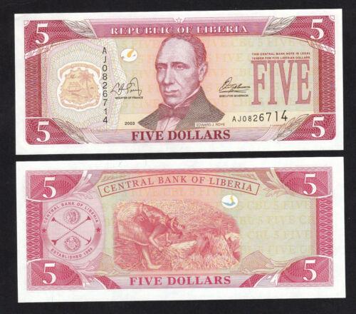 Liberia 5 Dollars (2003) P26 UNC