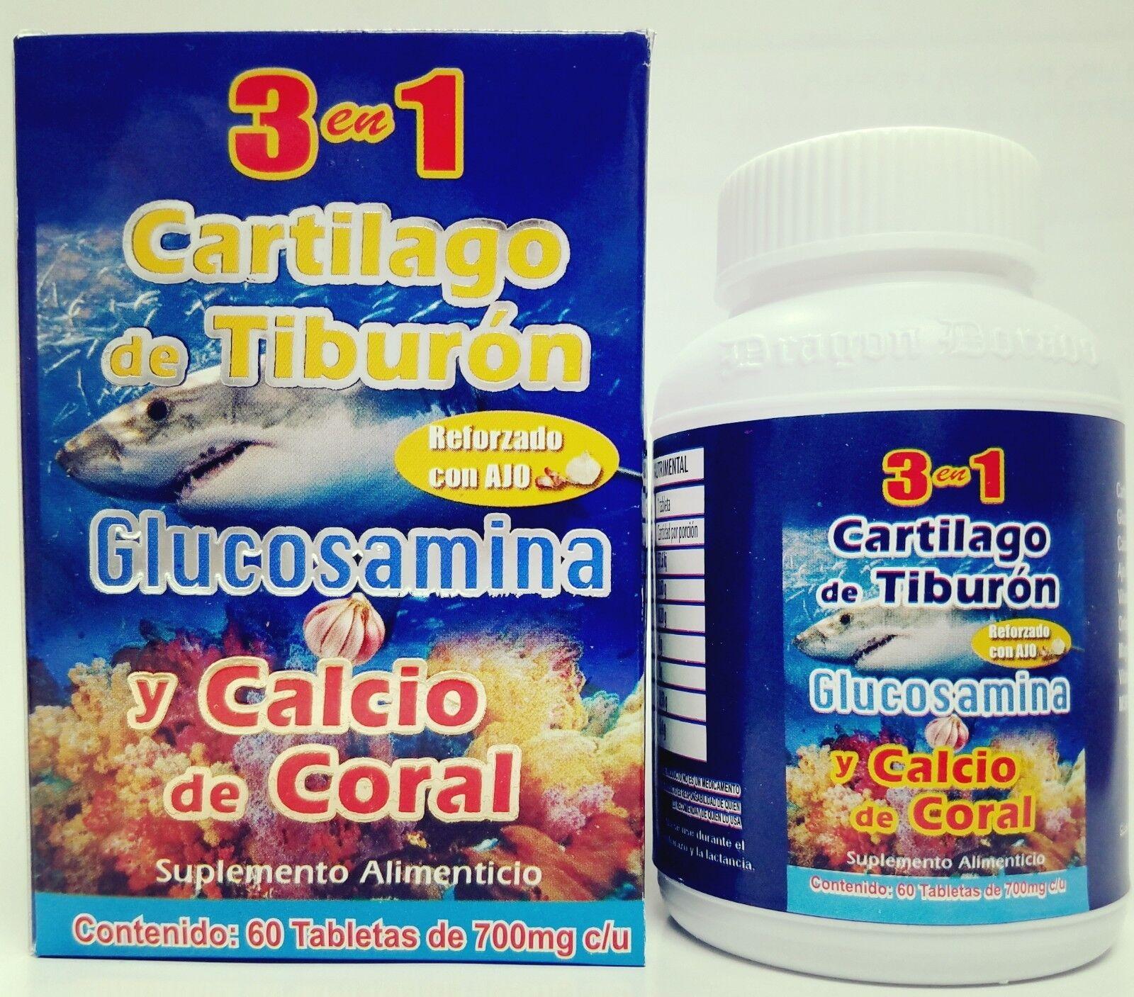 CARTILAGO TIBURON + CALCIO CORAL + AJO + ORTIGA / SHARK CARTILAGE CORAL CALCIUM