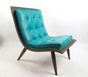 Danish Modern Eames Era Molded Bent Plywood Turquoise Lounge Chair EBay
