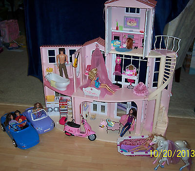 Barbie Dream House sounds, accessories, cars, motorcycle, dolls, pool, horses