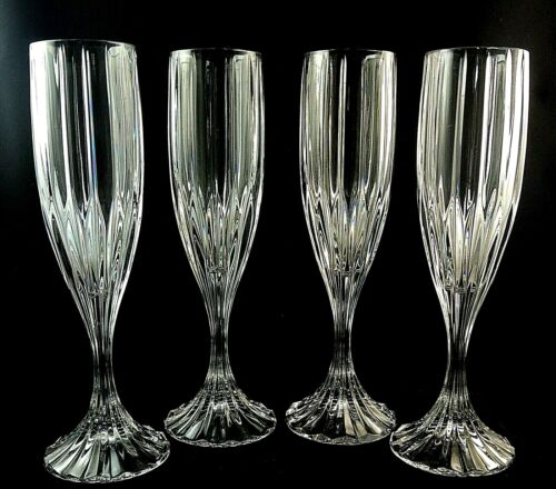 "(4) PARK LANE by Mikasa Crystal CHAMPAGNE Flutes Glasses 8 3/4"" MINT CONDITION!!"