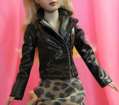 Barbie Faux Leather Chocolate Brown Coat Jacket just deboxed fits Tiny Kitty FR