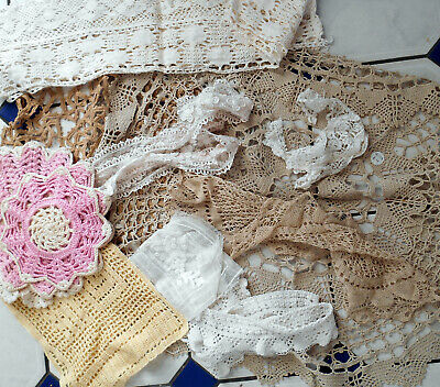 Job Lot of Doylies Doilies Lace Collars Lace Pieces Crocheted Pieces (13 Pieces)