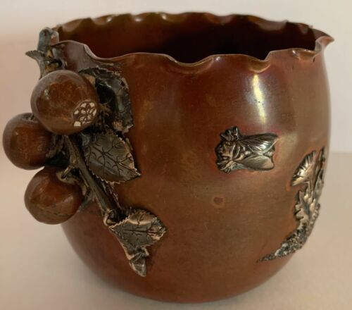 RARE COPPER STERLING GORHAM AESTHETIC MIXED METALS BLUEBERRY VINE & BUG C. 1882