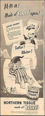 1946 Vintage ad for Northern Tissue Art Bear Little Boy Birds Clouds  072417
