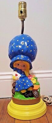 Atlantic Mold Lamp Vintage Girl Blue Bonnet Floral Sylvia 1976 Tested Works!