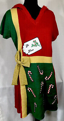 UGLY CHRISTMAS Sweater Dress Tunic Present Candy Cane Bow Hoodie Stretch XXL 19 ()