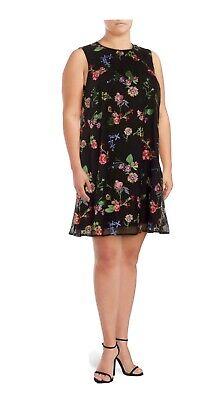 Calvin Klein Women's Black Plus Floral Embroidered Shift Dress $179 SZ 20W Plus