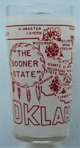"Vintage Oklahoma souvenir state glass, ""The Sooner State"""