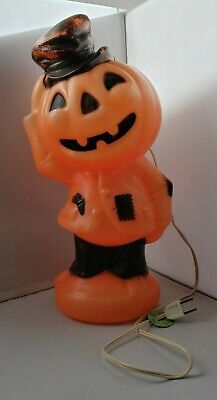 Vintage Halloween Plastic Lighted Pumpkin Empire 1969 Blow Mold Scarecrow Hobo