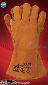 WELDING LEATHER GLOVES GAUNTLETS WELDERS WITH KEVLAR HEAT RESISTANT STITCHES