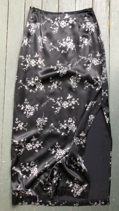 Vintage 90s 2000s Black Silky High Slit Slip Skirt Glitter Flowers Fashion Bug
