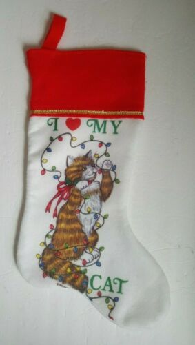 Vintage I Love My Cat Christmas Stocking Felt Retro Wellington Playing w Lights