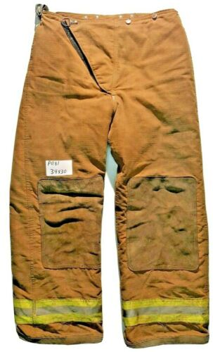 34x30 Globe Brown Firefighter Bunker Turnout Pants Yellow Reflective Tape P1181