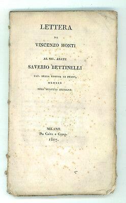 MONTI VINCENZO LETTERA AL SIG. ABATE SAVERIO BETTINELLI CAIRO E COMP. 1807