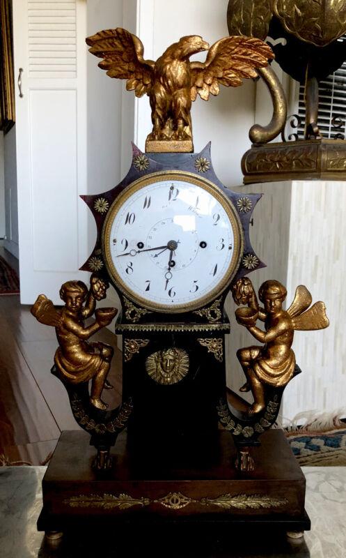 Early Antique Austrian Grand Sonnerie Portico Clock