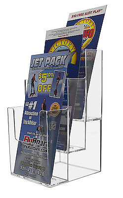 Clear Acrylic 3 Pocket Tiered Brochure Holder For 4w Literature Lot Of 6