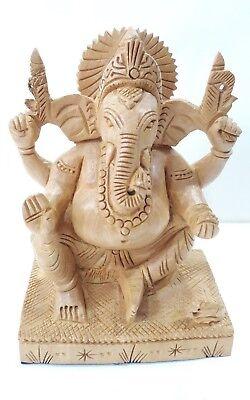 1.2m Madera Ganesh Estatua Tallado a Mano Pintado Hindú Elefante God Lord...