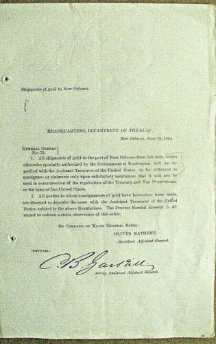 CIVIL WAR CALIFORNIA GOLD SHIPMENTS NEW ORLEANS GENERAL ORDER 1864