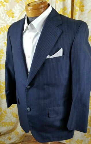 Vintage 1970s BROOKS BROTHERS Makers Blue Pinstripe 3 Button Blazer Jacket - 40R