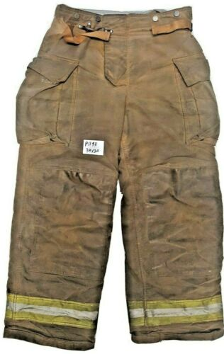 34x30 Securitex Brown Firefighter Turnout Bunker Pants Yellow Reflective P1193