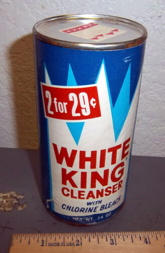 vintage White King cleanser container, unopened!, great colors & graphics