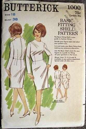 Vintage UNCUT Butterick Basic Fitting Shell Pattern #1000 Sz 18