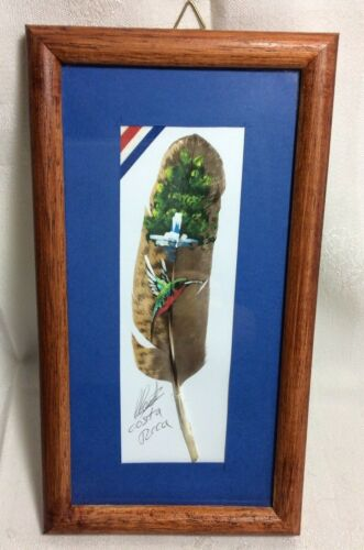 SIGNED, HAND PAINTED FEATHER WITH HUMMINGBIRD ON REAL FEATHER FROM COSTA RICA