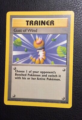 2x Pokemon Cards NM+ Gust of Wind #93//102 BASE 1st set Trainer 1999
