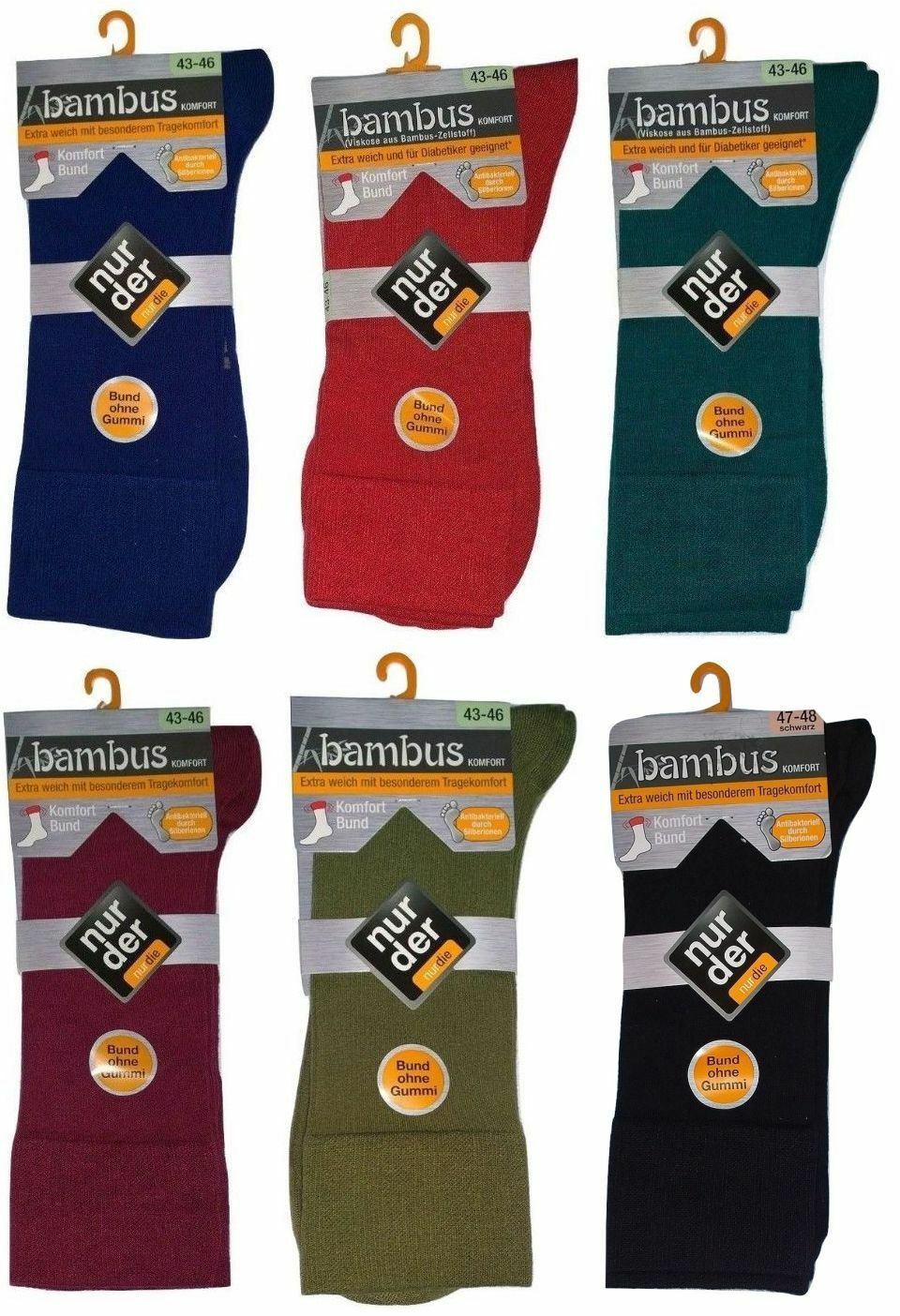 Nur Der Bambus Komfort Bund Socken Bund ohne Gummi auch für Diabetiker geeignet